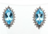9ct White Gold Diamond And Blue Topaz Cluster Earrings 0.02 Carats