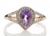 9ct Rose Gold Amethyst And Diamond Cluster Ring 0.21 Carats