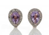 9ct Rose Gold Amethyst Diamond Earring 0.20 Carats