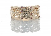 18 Carat Rose Gold Diamond and Ruby Filigree Ring